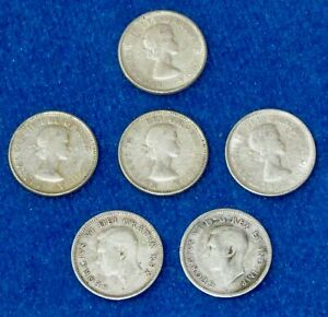 CANADIAN 80  SILVER DIMES  LOT OF SEVEN  7  1941 1964 CIRCULATED UNGRADED
