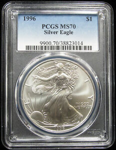 Click now to see the BUY IT NOW Price! 1996 SILVER EAGLE PCGS MS70   NO MILK SPOTS OR CARBON SPECS