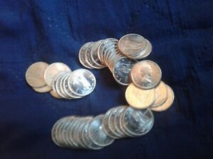 STUNNING 1964 BRILLIANT UNCIRCULATED CANADA 10 CENTS PART ROLL OF 44 COINS