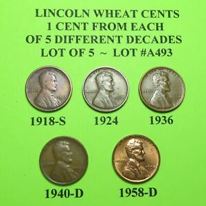 1918 S 1924 36 1940 D 58 D   5 LINCOLN WHEAT CENTS FROM 5 DIFF. DECADES LOT A493