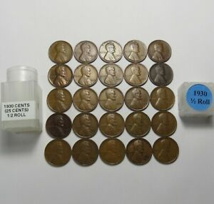 1930   LINCOLN WHEAT CENTS  HALF ROLL   25 SOLID DATES COINS    LOT S168