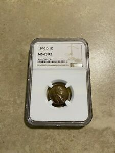 1940 D LINCOLN WHEAT CENT NGC MS 63 RB