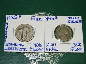 1925 P STANDING LIBERTY 90  SILVER QUARTER&1943 S WWII SILVER NICKEL GREAT COINS