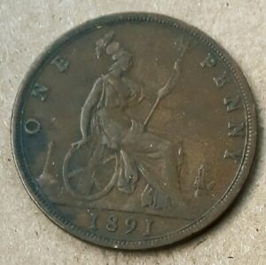 BRITISH LARGE PENNY   1891   QUEEN VICTORIA    UNLIMITED SHIPPING