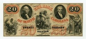 1859 $20 THE BANK OF NORTH CAROLINA NOTE AT FAYETTEVILLE