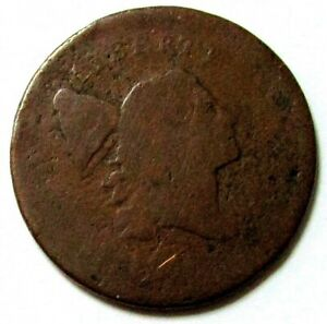 1795 USA LIBERTY CAP FLOWING HAIR HALF CENT PLAIN EDGE NO POLE TYPE COIN AG
