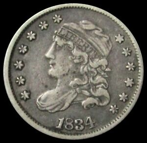 1834 SILVER UNITED STATES CAPPED BUST HALF DIME COIN FINE