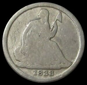 1838 O NO STARS  SEATED LIBERTY HALF DIME TYPE COIN GOOD CONDITION