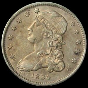 1834 SILVER UNITED STATES CAPPED BUST QUARTER TYPE COIN EXTRMELY FINE