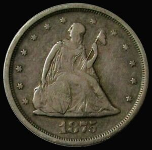 1875 S SILVER 20 CENT SEATED LIBERTY TYPE COIN VG