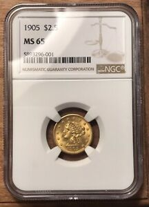 1905 QUARTER EAGLE $2.50 LIBERTY HEAD GOLD COIN NGC MS65