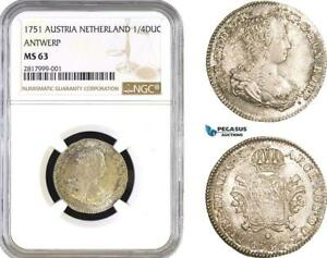 Click now to see the BUY IT NOW Price! AB289 AUSTRIA NETHERLANDS  BRABANT  MARIA THERESIA 1/4 DUCATON 1751 NGC MS63