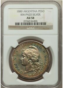 Click now to see the BUY IT NOW Price!    NGC    ARGENTINA PESO    1880    PATTERN    AU58    CV $1850    1/2 PRICE  M8