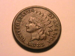 1885 INDIAN HEAD CENT NICE EXTRA FINE EF  ORIGINAL BROWN USA 1 SMALL PENNY COIN
