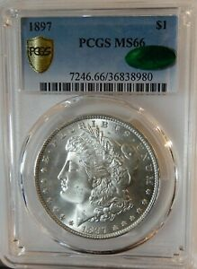 1897 MORGAN SILVER DOLLAR PCGS MS66 CAC   SECURE