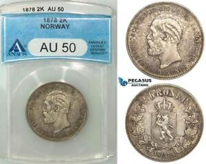 Click now to see the BUY IT NOW Price! R498 NORWAY OSCAR II 2 KRONER 1878 KONGSBERG SILVER ANACS AU50