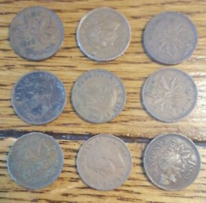 9 CONSECUTIVE CANADIAN PENNIES 1939 1947 GEORGE VI  KM32