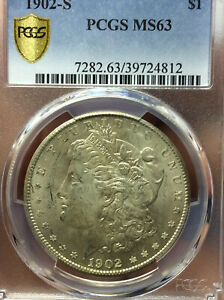 1902 S MORGAN PCGS MS63 SILVER DOLLAR VAM 7 DOUBLED PROFILE/2 OLIVE REVERSE COIN