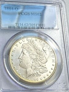 1884 O MORGAN DOLLAR PCGS MS62 WHITE BEAUTY FOR GRADE CHN