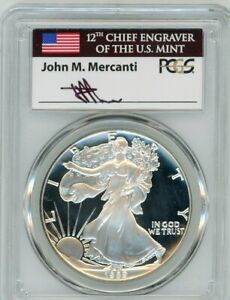 Click now to see the BUY IT NOW Price! 1989 S $1 1OZ PROOF SILVER EAGLE PR70DCAM PCGS JOHN MERCANTI FLAG