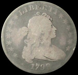 1799 SILVER DRAPED BUST FLOWING HAIR DOLLAR COIN GOOD CONDITION