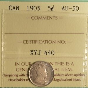 1905 CANADA SILVER  5 CENT   ICCS AU 50     SERIAL  XYJ 440