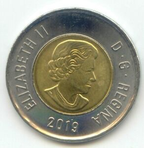 CANADA 2019 TOONIE TWO DOLLAR COIN CANADIAN $2 EXACT COIN SHOWN