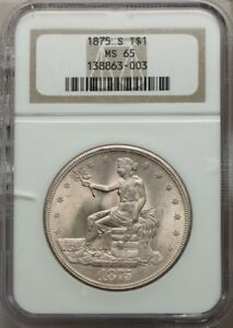 Click now to see the BUY IT NOW Price! 1875 S TRADE DOLLAR $1 TYPE 1 REVERSE NGC MS65 TRUE BEAUTY PG   $11 500