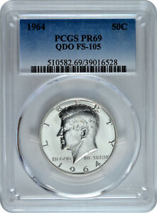 Click now to see the BUY IT NOW Price! 1964 50C SILVER PROOF KENNEDY HALF DOLLAR PCGS PR 69 QDO FS 105 TOP POP 1/0