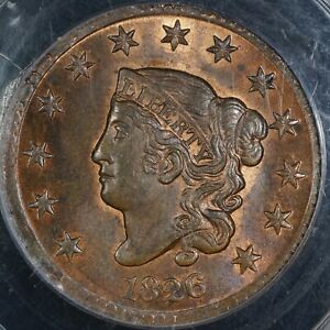 Click now to see the BUY IT NOW Price! 1826 CORONET HEAD LARGE CENT GRADED PCGS MS65 RB NEWCOMB 5 NAFTZGER COLLECTION