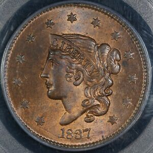 Click now to see the BUY IT NOW Price! 1837 CORONET LARGE CENT GRADED PCGS MS65 RB N 15 MED LETTERS NAFTZGER COLLECTION