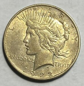 1922 D PEACE DOLLAR CHOICE AU/UNC. ORIGINAL PATINA BELOW GREYSHEET CHN
