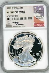Click now to see the BUY IT NOW Price! 2003 W $1 1OZ PROOF SILVER EAGLE PR70 NGC JOHN MERCANTI