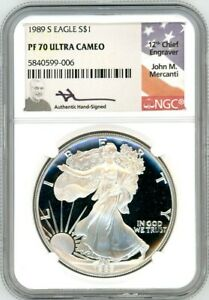 Click now to see the BUY IT NOW Price! 1989 S $1 1OZ PROOF SILVER EAGLE PR70 NGC JOHN MERCANTI