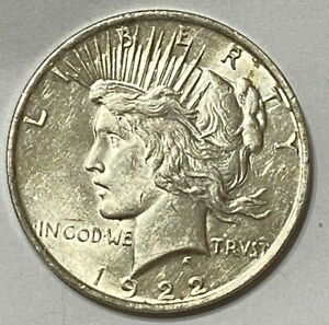 US 1922 P  PEACE SILVER DOLLAR   UNCIRCULATED / UNC   HIGH GRADE COIN