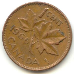 CANADA 1966 CANADIAN ONE CENT PENNY 1C 1 C  COIN LOT D