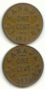 CANADA 1932 & 1933 PENNIES CANADIAN 1 CENT PIECE 1C  COIN LOT D