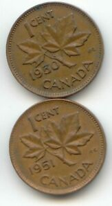 CANADA 1950 1951 CANADIAN PENNY PENNIES ONE CENT 1C  COIN LOT D