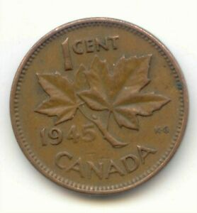 CANADA 1945 CANADIAN PENNY ONE CENT KING GEORGE VI 1C  COIN LOT D