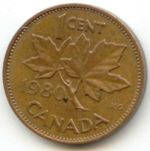 CANADA 1980 CANADIAN PENNY ONE 1 CENT 1C  COIN LOT D