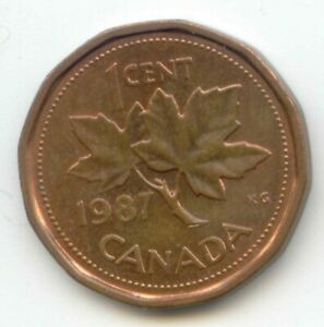 CANADA 1987 PENNY CANADIAN 1 CENT MAPLE LEAF 1C  COIN LOT D