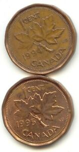 CANADA 1994 & 1995 PENNIES CANADIAN 1 CENT 1C ONE C  EXACT  COIN