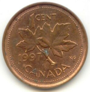 CANADA 1997 ONE CENT CANADIAN PENNY 1C 1 C  COIN LOT D