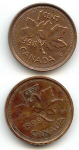 CANADA 1998 1999 ONE CENT CANADIAN PENNIES 2X PENNY 1C  COIN LOT D