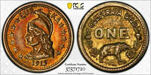 TRIPLE STRUCK 1915 MINERVA HEAD CALIF GOLD / X TN9 PCGS AU MAJOR ERROR UNIQUE