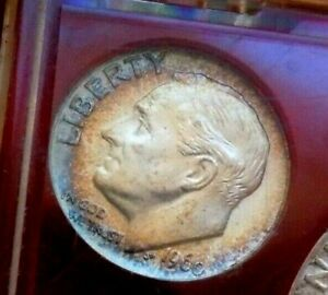 Click now to see the BUY IT NOW Price! 1960 P GEM BU ORIGINAL MINT SET WITH MONSTER RAINBOW DIME INSANE COLORS