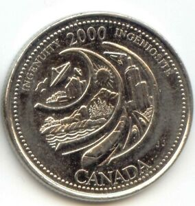CANADA 2000 INGENUITY INGENIOSITE QUARTER CANADIAN 25 CENT TWENTY FIVE CENTS 25C
