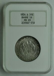 1936 D   RHODE ISLAND COMMEMORATIVE HALF DOLLAR   NGC MS65