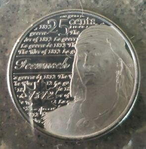 UNC CANADA 25 CENT QUARTER 2012 WAR OF 1812 TECUMSEH FROSTED