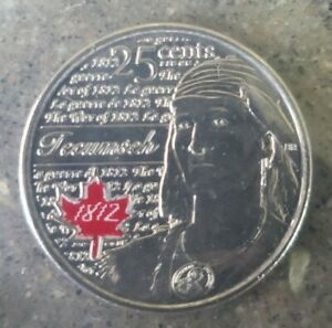 UNC CANADA 25 CENT QUARTER 2012 WAR OF 1812 TECUMSEH COLOURIZED